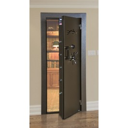 Amsec VD8030SF Vault Door - Textured Black with Brass hardware as Shown