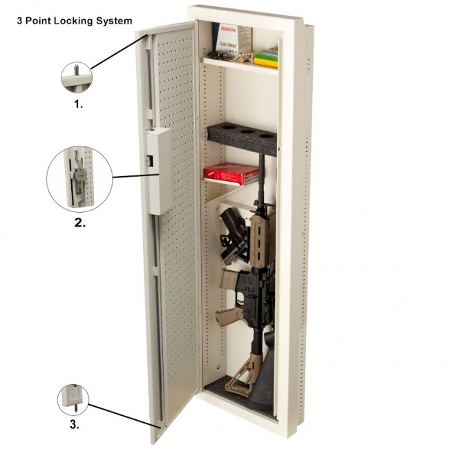 Marvelous ... VLine 51653 Closet Wall/Floor Gun Vault W/ Mechanical Pushbutton Lock 3  Point Locking